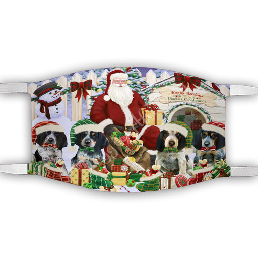 Happy Holidays Christmas Bluetick Coonhound Dogs House Gathering Face Mask FM48226