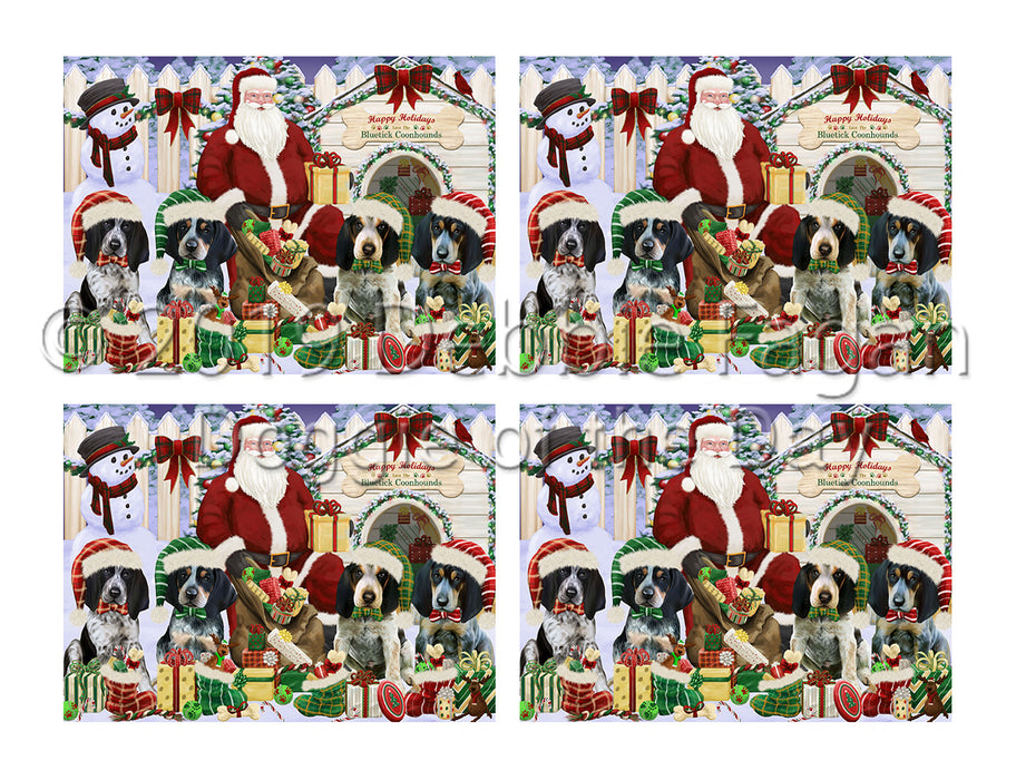 Happy Holidays Christmas Bluetick Coonhound Dogs House Gathering Placemat