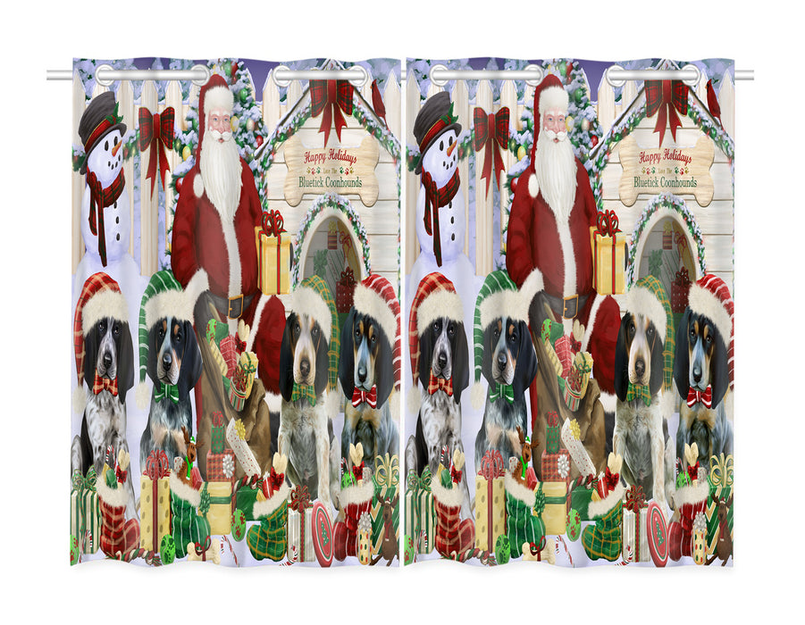 Happy Holidays Christmas Bluetick Coonhound Dogs House Gathering Window Curtain