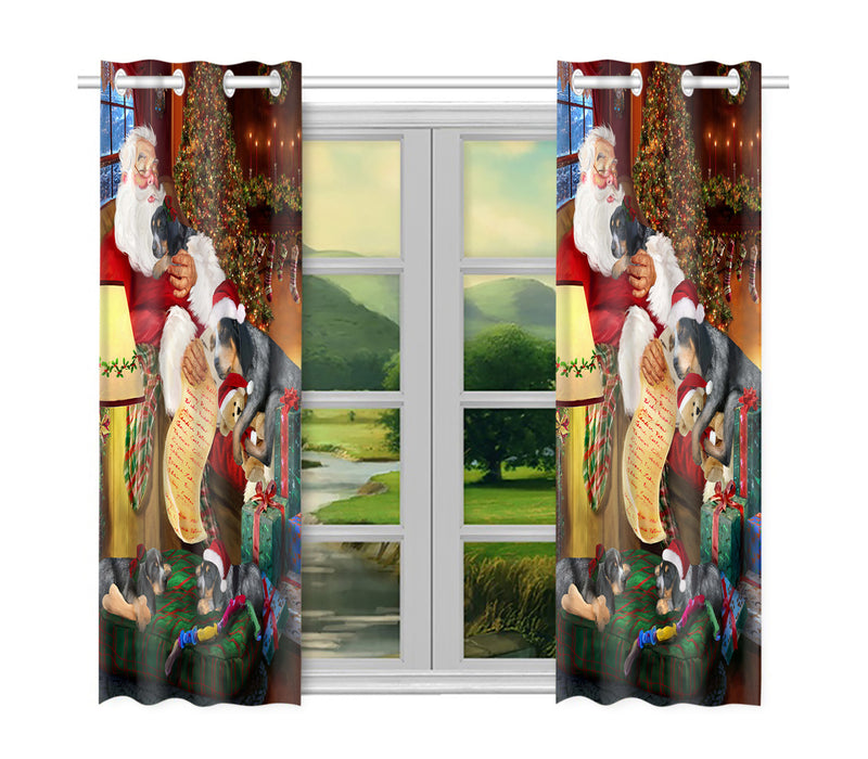 Santa Sleeping with Bluetick Coonhound Dogs Window Curtain