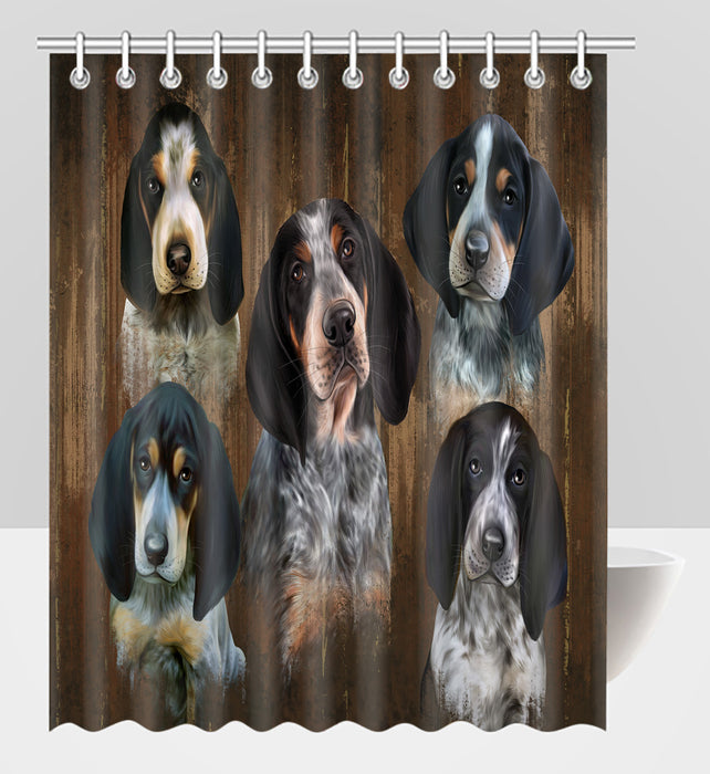 Rustic Bluetick Coonhound Dogs Shower Curtain