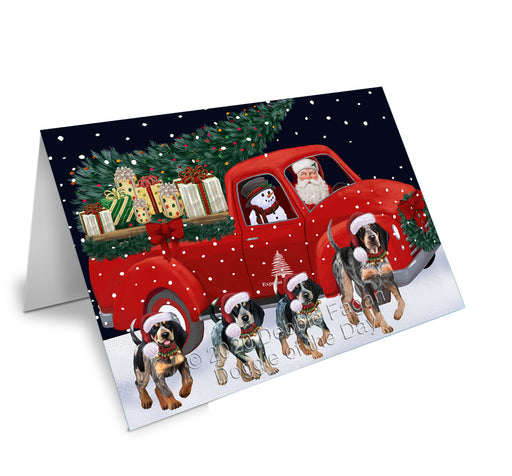 Christmas Express Delivery Red Truck Running Bluetick Coonhound Dogs Greeting Card GCD75077