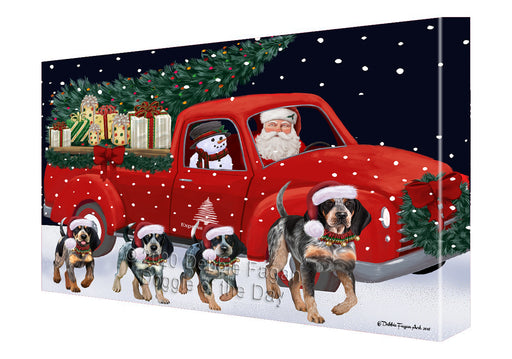 Christmas Express Delivery Red Truck Running Bluetick Coonhound Dogs Canvas Print Wall Art Décor CVS145907