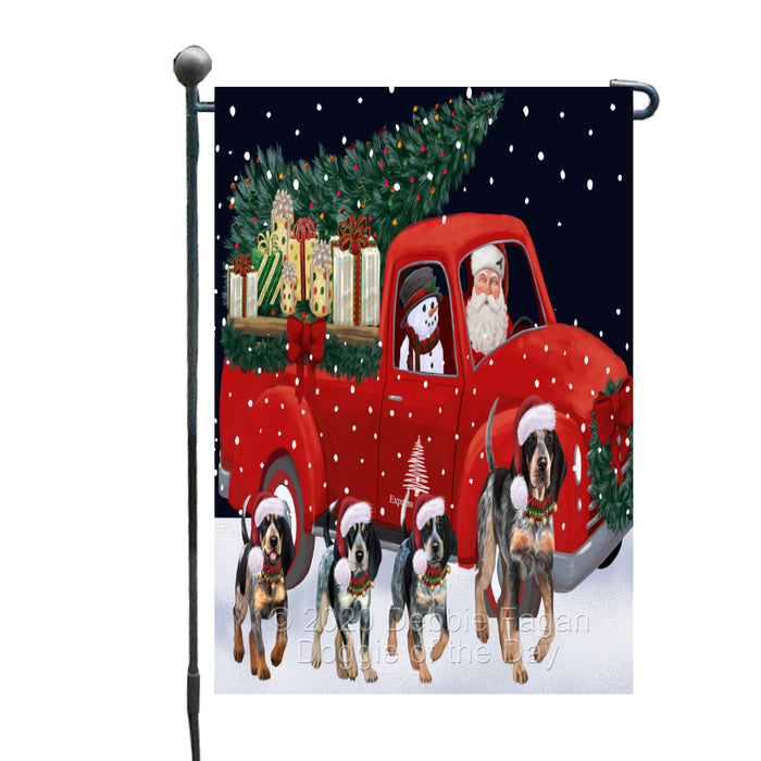 Christmas Express Delivery Red Truck Running Bluetick Coonhound Dogs Garden Flag GFLG66445