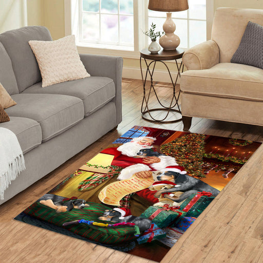 Santa Sleeping with Bluetick Coonhound Dogs Area Rug