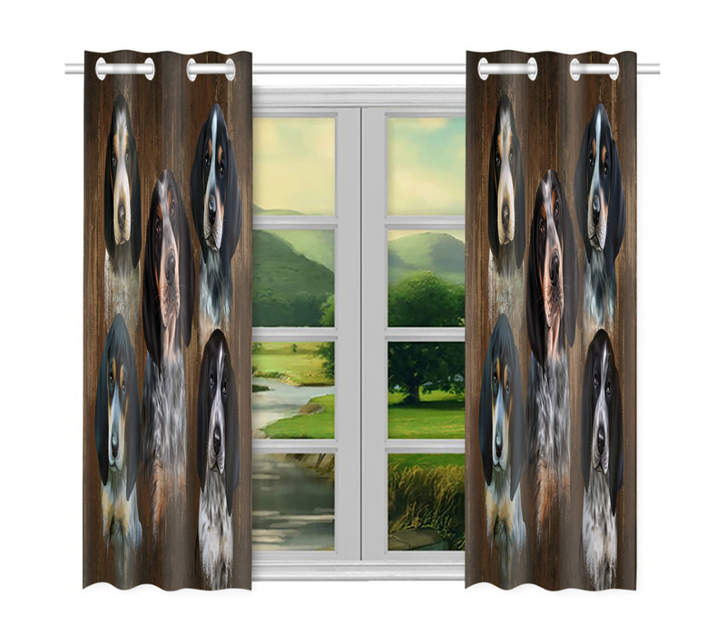 Rustic Bluetick Coonhound Dogs Window Curtain