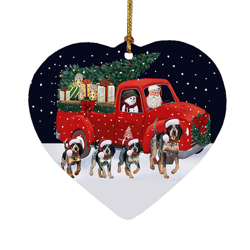 Christmas Express Delivery Red Truck Running Bluetick Coonhound Dogs Heart Christmas Ornament RFPOR58072