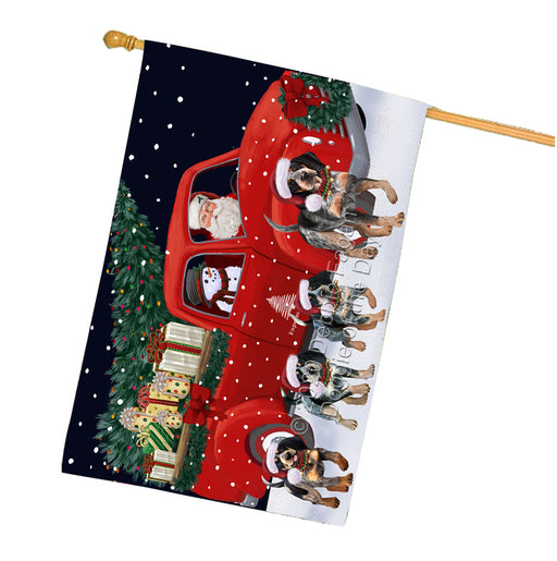 Christmas Express Delivery Red Truck Running Bluetick Coonhound Dogs House Flag FLG66501