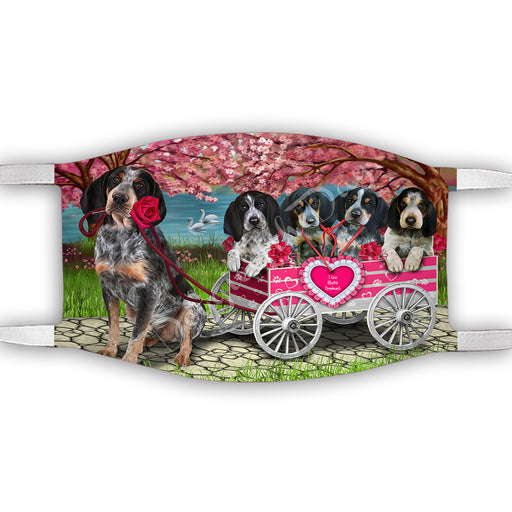 I Love Bluetick Coonhound Dogs in a Cart Face Mask FM48125
