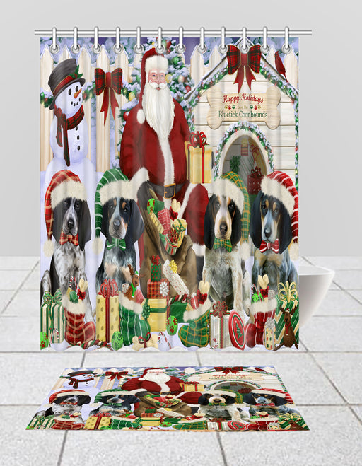 Happy Holidays Christma Bluetick Coonhound Dogs House Gathering Bath Mat and Shower Curtain Combo