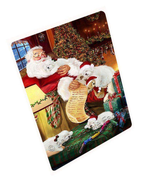 "Bolognese Dogs And Puppies Sleeping With Santa Magnet Small (5.5"" x 4.25"")"