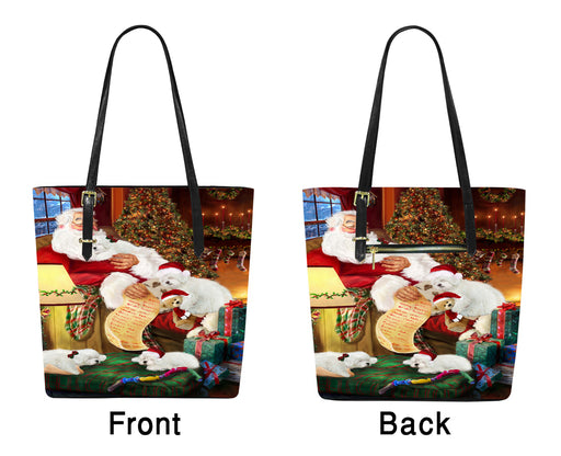 Santa Sleeping with Bolognese Dogs Euramerican Tote Bag