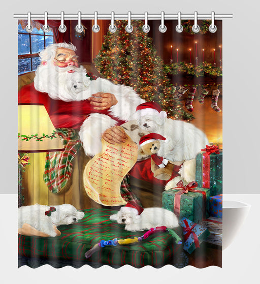 Santa Sleeping with Bolognese Dogs Shower Curtain