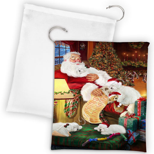 Santa Sleeping with Bolognese Dogs Drawstring Laundry or Gift Bag LGB48784