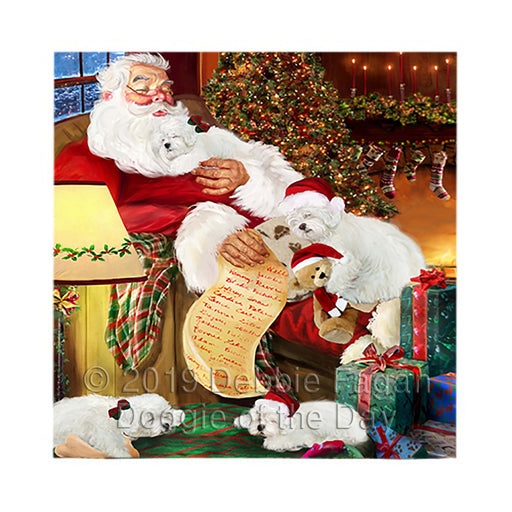 Santa Sleeping with Bolognese Dogs Square Towel