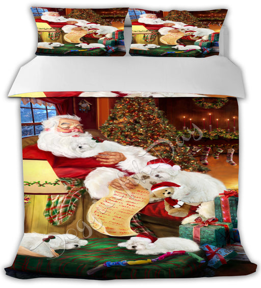 Santa Sleeping with Bolognese Dogs Bed Comforter CMFTR49470