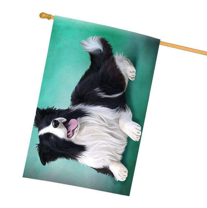 Border Collie Dog All Weather House Flag