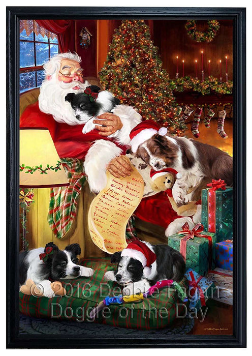 Border Collie Dog and Puppies Sleeping with Santa Framed Canvas Print Wall Art