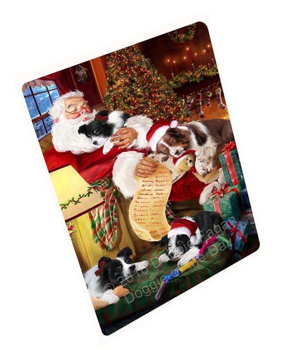 "Border Collie Dog And Puppies Sleeping With Santa Magnet Mini (3.5"" x 2"")"