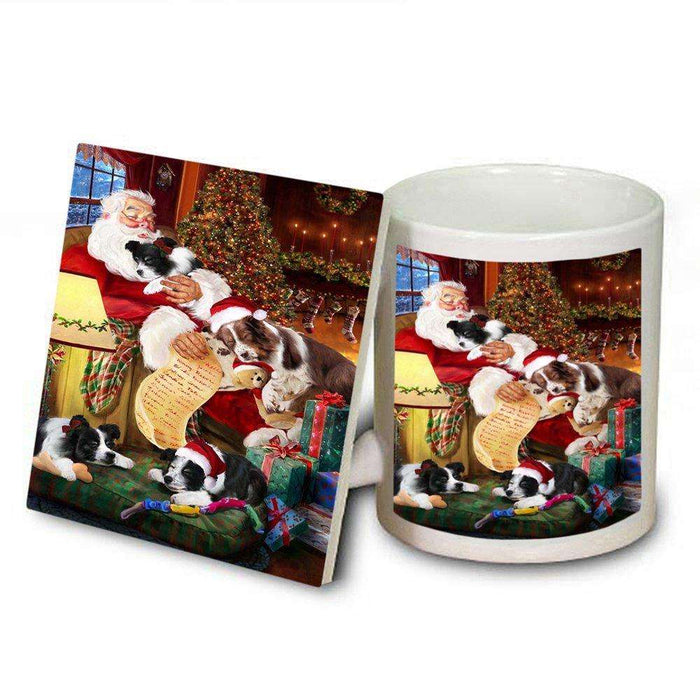 Border Collie Dog and Puppies Sleeping with Santa Mug and Coaster Set