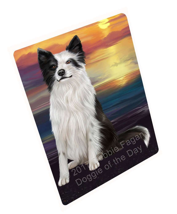 Border Collie Dog Art Portrait Print Woven Throw Sherpa Plush Fleece Blanket
