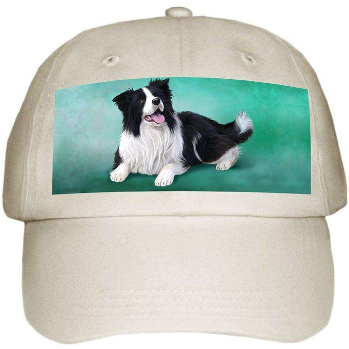 Border Collie Dog Ball Hat Cap Off White