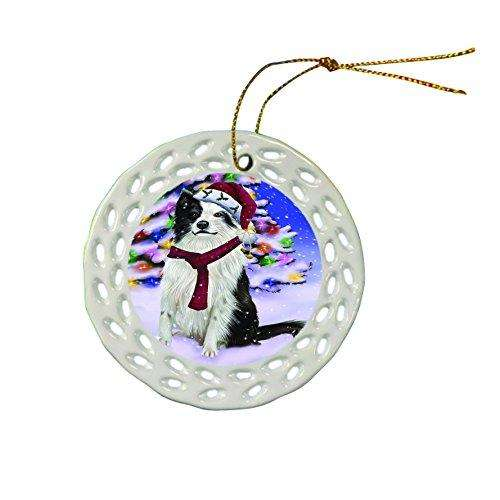 Border Collie Dog Christmas Doily Ceramic Ornament