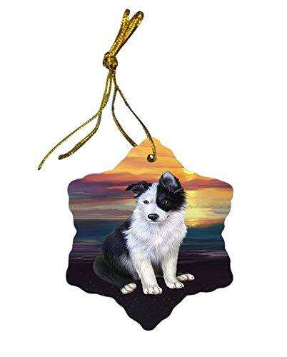 Border Collie Dog Christmas Snowflake Ceramic Ornament