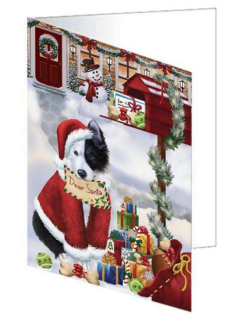 Border Collie Dog Dear Santa Letter Christmas Holiday Mailbox Greeting Card GCD65648