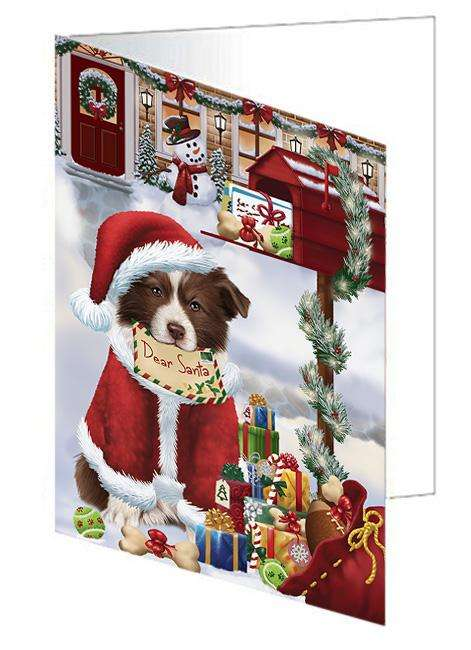 Border Collie Dog Dear Santa Letter Christmas Holiday Mailbox Greeting Card GCD65651