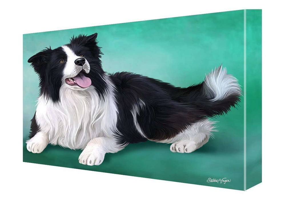 Border Collie Dog Painting Printed on Canvas Wall Art Signed