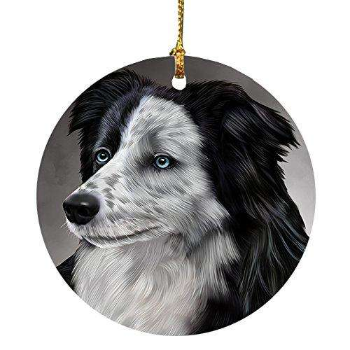 Border Collie Dog Round Christmas Ornament