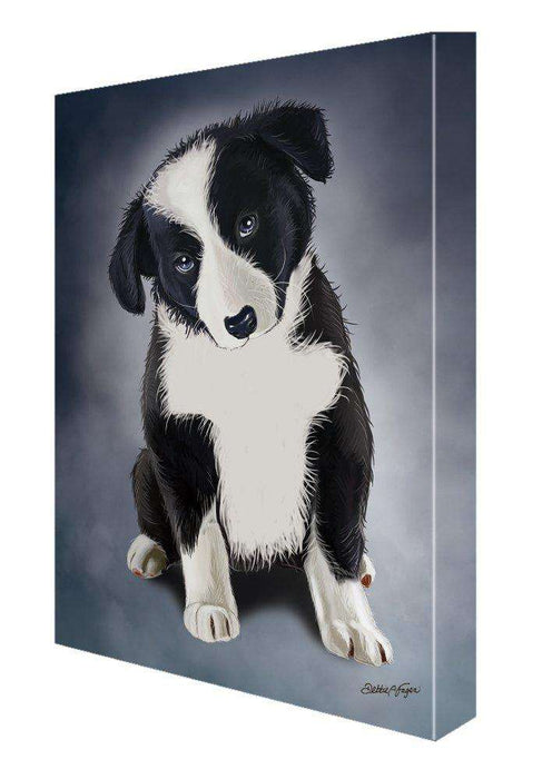 Border Collie Puppy Dog Painting Printed on Canvas Wall Art Signed