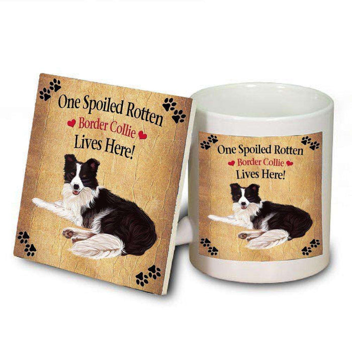 Border Collie Spoiled Rotten Dog Mug and Coaster Set
