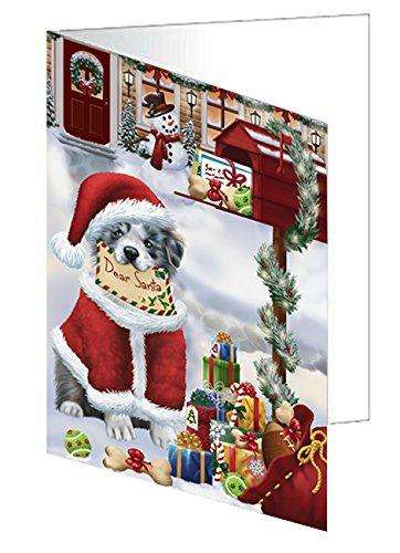 Border Collies Dear Santa Letter Christmas Holiday Mailbox Dog Note Card