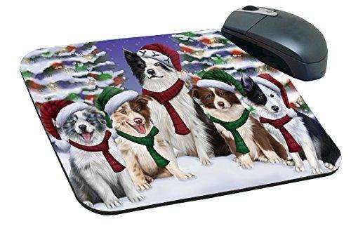 Border Collies Dog Christmas Family Portrait in Holiday Scenic Background Mousepad