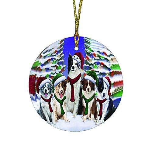 Border Collies Dog Christmas Family Portrait in Holiday Scenic Background Round Ornament D134