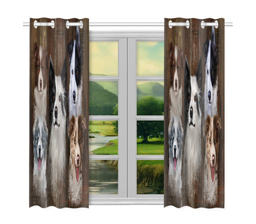 Rustic Border Collie Dogs Window Curtain
