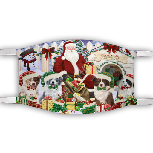 Happy Holidays Christmas Border Collie Dogs House Gathering Face Mask FM48227