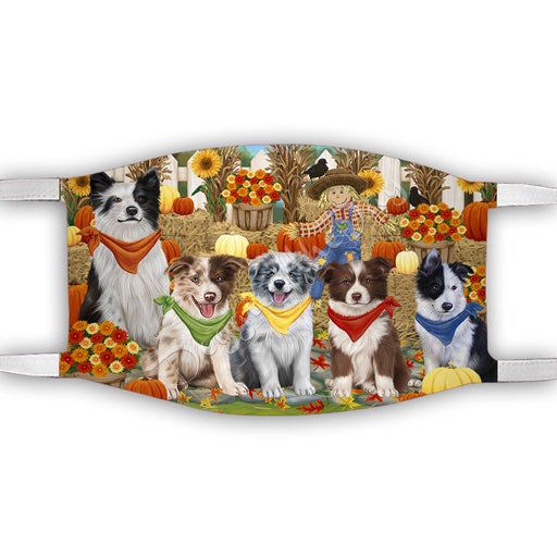 Fall Festive Harvest Time Gathering  Border Collie Dogs Face Mask FM48516