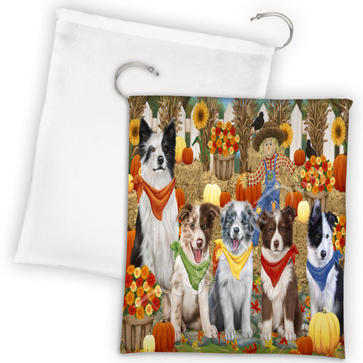 Fall Festive Harvest Time Gathering Border Collie Dogs Drawstring Laundry or Gift Bag LGB48383