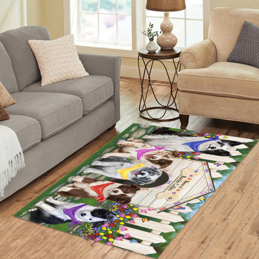 Spring Dog House Border Collie Dogs Area Rug