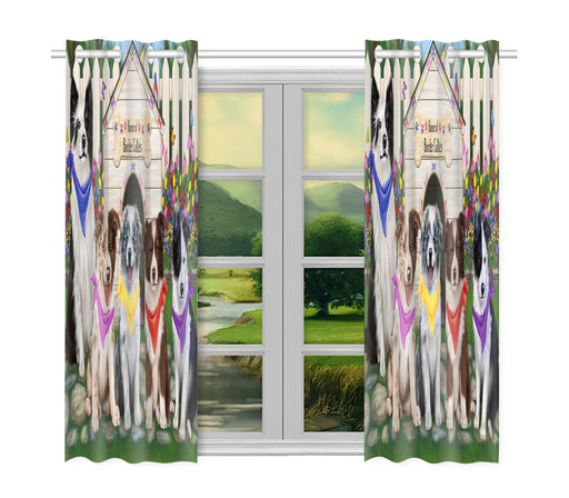 Spring Dog House Border Collie Dogs Window Curtain