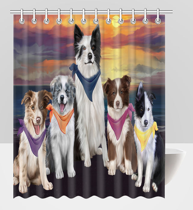 Family Sunset Portrait Border Collie Dogs Shower Curtain