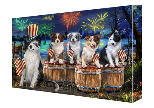 4th of July Firework Gathering Border Collie Dogs Canvas Wall Art CVS49296