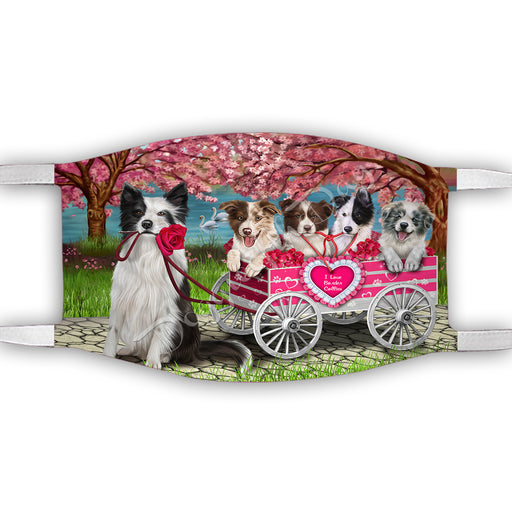 I Love Border Collie Dogs in a Cart Face Mask FM48126