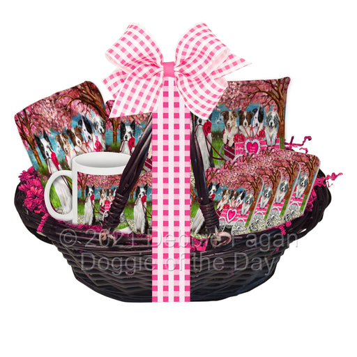 Mother's Day Gift Basket Border Collie Dogs Blanket, Pillow, Coasters, Magnet, Coffee Mug and Ornament