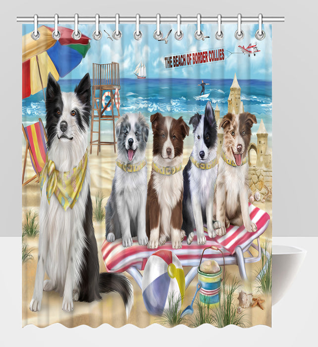 Pet Friendly Beach Border Collie Dogs Shower Curtain