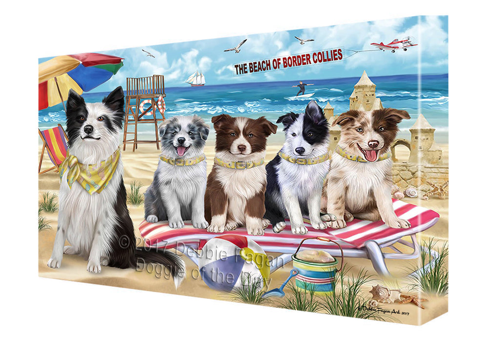 Pet Friendly Beach Border Collie Dog Canvas Wall Art CVS49305