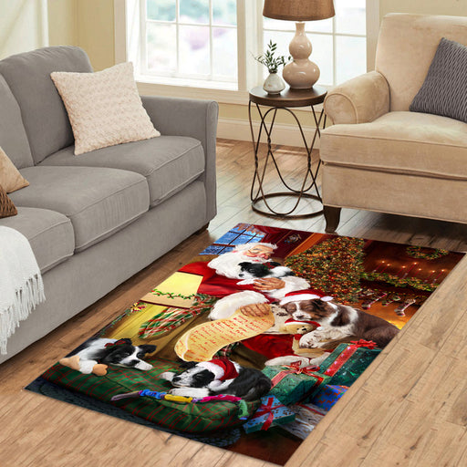 Santa Sleeping with Border Collie Dogs Area Rug